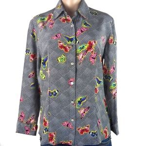 Silk Long Sleeves Butterfly Print Top